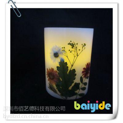 供应厂家直销田园风光蜡烛灯手工贴干花创意LED电子蜡烛灯家居装饰创意礼物