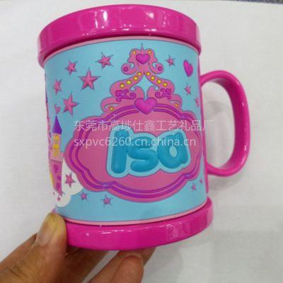 供应加工定制PVC马克杯 迪士尼儿童塑胶杯 PVC滴胶马克杯
