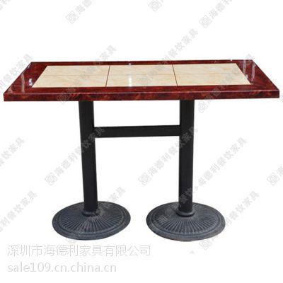 厂家定做 时尚大理石西餐桌 西餐厅酒店红边大理石西餐台 H型桌脚餐桌
