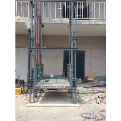 郑州链条式式液压升降货梯豫远牌导轨和肇庆市壁挂式升降机导轨链条式图片