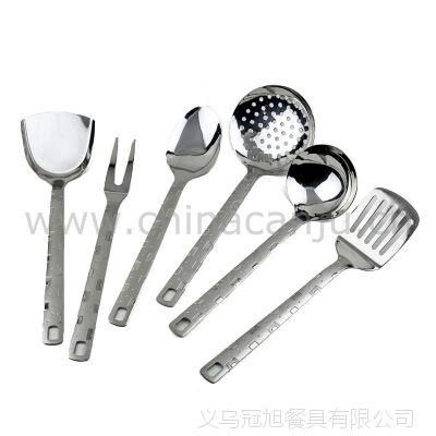 【厂家供应】小方格厨具 锅铲 铲勺 漏勺 不锈钢 厨具套装 烹饪勺