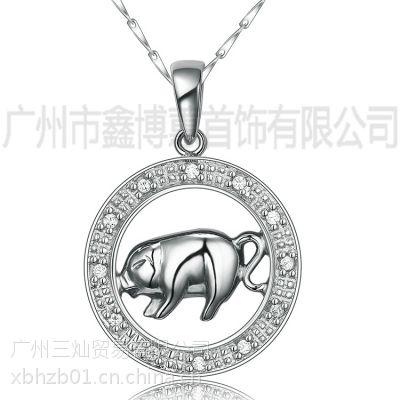 银饰品时尚925银小猪吊坠十二生肖首饰品广州银饰定制