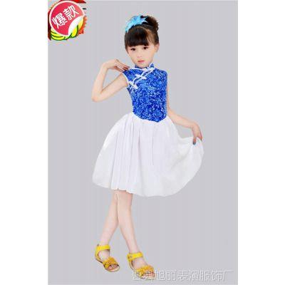 厂家直销儿童青花瓷雪纺蕾丝纱裙夏季女孩子收腰连衣裙子童装特价