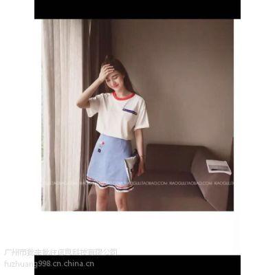 2016新款韩版两件套装连衣裙女 夏季宽松短袖T恤