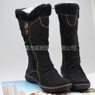 供应BASS外贸出口原单 保暖舒适低坡跟大小码雪地靴女中高筒靴 批发