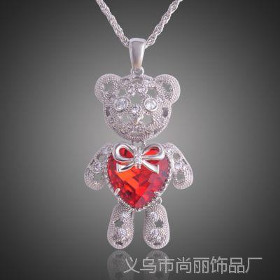 韩版卡通小熊长款镶锆石项链高档毛衣链 镶满钻超可爱宝宝熊项饰