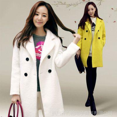 2014新款冬季韩国东大门韩版黄色官网品牌女装毛呢外套大衣女914