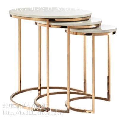 简约洽谈接待不锈钢圆茶几脚洽谈桌商务接待会客不锈钢小圆桌白色咖啡桌