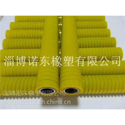 供应进口材质精度高无气泡pu聚氨酯螺纹纺织胶轮|传动胶轮直径24mm