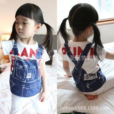 支持混批 童装上衣 正品小中童夏装体恤 女童休闲背带印花短袖T恤