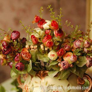 欧式仿真花 绢花仿真花 假花仿真花 做旧复古 烧边玫瑰    3色选