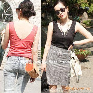 正品韩国进口服装服饰批发夏装带文胸背心 支持混批原厂直销