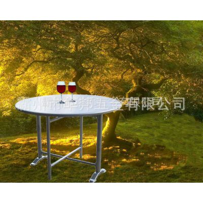 供应厂价火爆热销 不锈钢桌面+钢管腿客厅 圆桌 餐厅圆桌