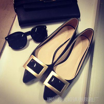 2015春秋季新款女单鞋厂家直销尖头平底鞋 方扣平跟爆款一件代发