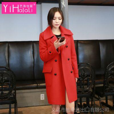 毛呢外套女 冬季韩版修身呢子大衣中长款毛呢外套女款宽松呢大衣