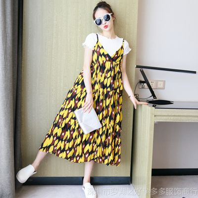 2016韩版夏季百褶雪纺上衣+吊带碎花长裙两件套孕妇大码连衣裙