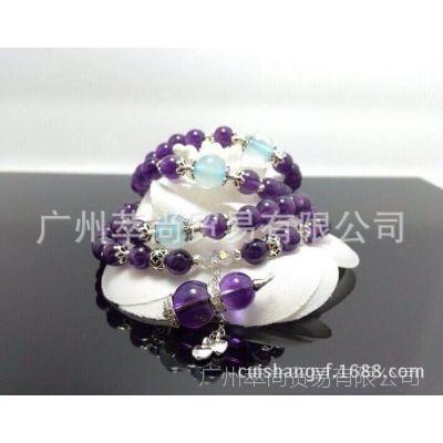 萃尚*** 天然紫晶葫芦 925银镶葫芦 6MM紫水晶手链 诚招代理