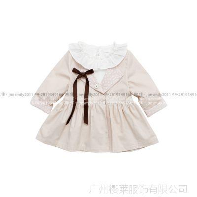 儿童2015春装 韩版女童短款圆领小风衣童装薄款外套送蝴蝶结3507