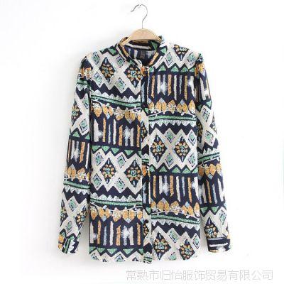 2014春夏装新款欧美风女式衬衫抽象印花长袖立领雪纺衬衫