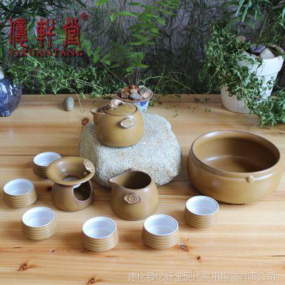 高档陶瓷汝窑功夫茶具礼品整套台湾日式粗陶手抓壶泡茶器特价批发