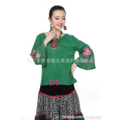 古韵古典秀民族风特色棉麻女士百搭大袖口绣花上衣复古短款批发