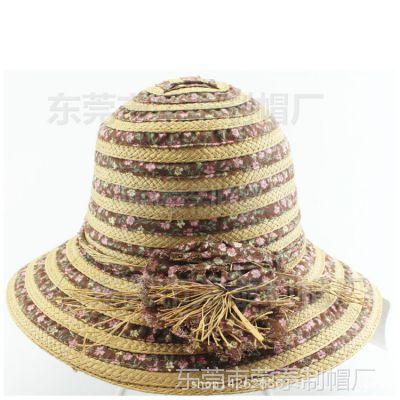 新款女士夏天韩版帽子可折叠遮阳帽太阳帽防晒帽草编草帽东莞工厂
