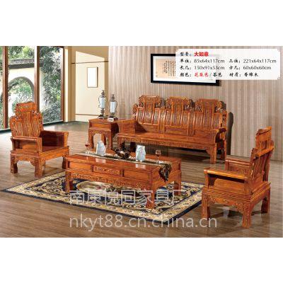 全实木沙发组合橡木沙发新中式仿古客厅家具特价大如意厂家批发