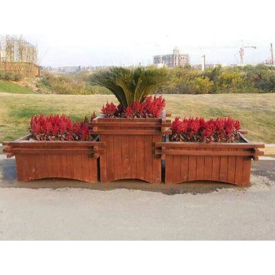 防腐木高低组合花箱 户外景观树围花箱