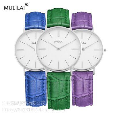 速卖通新款彩色表带女士手表 时尚休闲简约小竹纹皮带腕表M8704