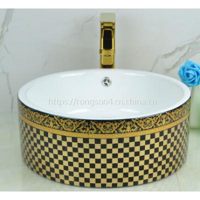 批发欧式台上陶瓷奢华金色黑色彩色洗手盆