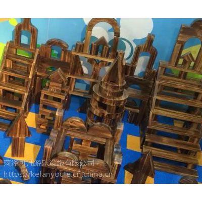 厂家直销330片户外木质碳化积木拼装幼儿园积木玩具