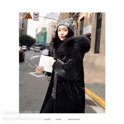 2017冬季新款丝绒宽松版真毛领羽绒服