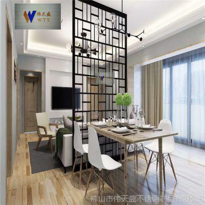 家庭客厅黑钛不锈钢屏风隔断管材拼接不锈钢屏风花格