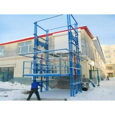 济南金创工厂直供SJD1-8双轨式升降平台导轨式电动液压货梯 两层厂房运送货物 升高8米1吨升降梯