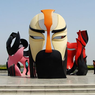 城市标志建筑玻璃钢戏曲人物面具造型脸谱雕塑大型彩绘京剧川剧变脸影视道具巨型镂空脸谱模型定制