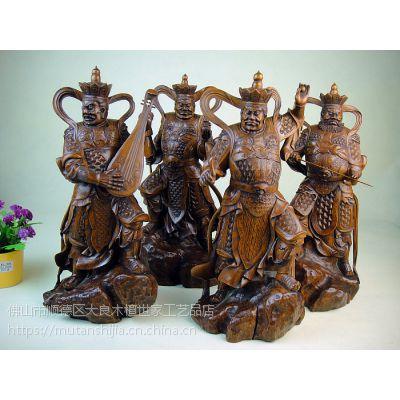 木檀世家小叶黄杨木风调雨顺四大天王木雕件 四大金刚护法天神摆件一套珍藏品