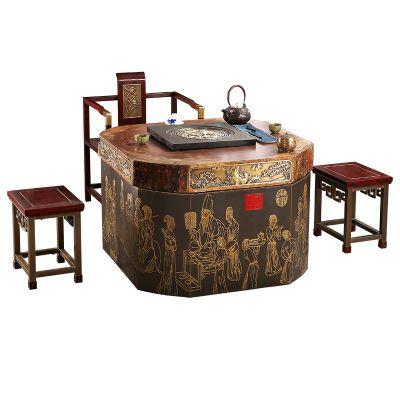 匠铜心铜德茶桌纯铜实木茶盘茶几台家具新中式铜艺定制