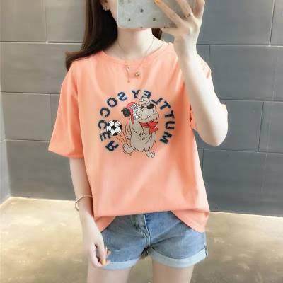 夏季纯棉鲨鱼日系bf风青少年学生宽松tee港风潮牌简约女装短袖T恤