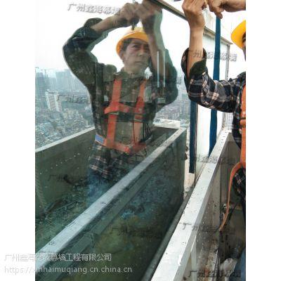 观光电梯玻璃更换厂家/超长玻璃维修/广州U型玻璃维修厂家