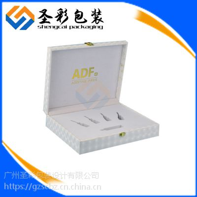 广州圣彩白色化妆品盒精油 香水盒 翻盖包装纸木盒 养生套装包装皮盒定做
