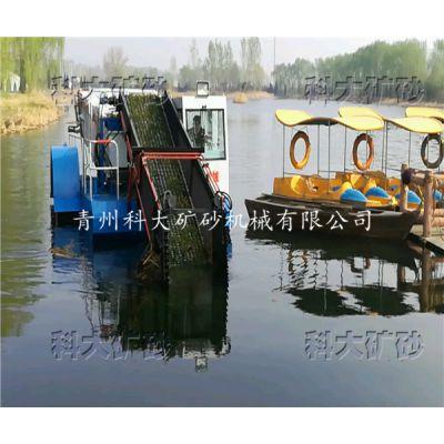 供应河道全自动水草收割机械,多功能水草清理设备,景区水面漂浮物保洁船