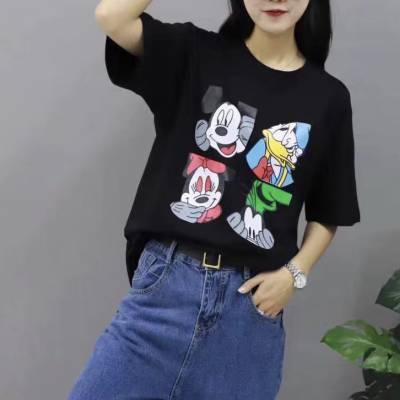 库存女式T恤批发低价女装体恤衫尾货厂家货到付款批发女装短袖T恤