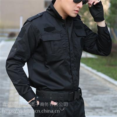 德州保安服厂家 保安作训服装 黑色长袖特勤服 素时锦衣