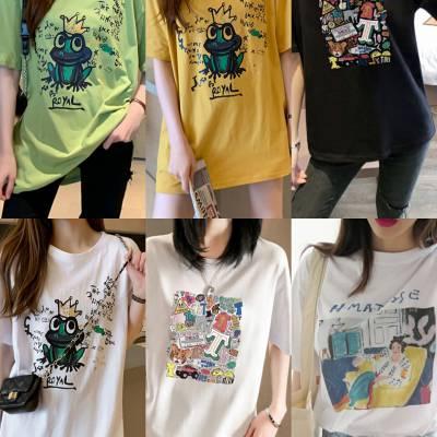 2019新款女装短袖广州便宜女装T恤夏季短袖清货2块钱T恤清货韩版纯棉T恤