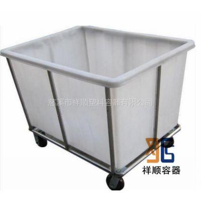 底部有轮子的周转桶/小推车式的塑料桶/150升方形敞口桶