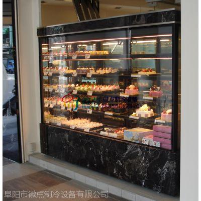 徽点日式直角蛋糕柜,摩点妙域烘焙蛋糕店,加热丝除雾西点冷藏展示柜内江