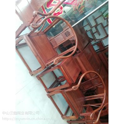 中山红木家具刺猬紫檀皇宫椅三件套云鑫臻品