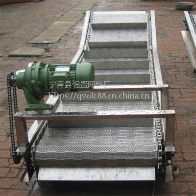 强盛输送机厂家常年制作链板挡板提升输送机 加工定制链板提升输送线