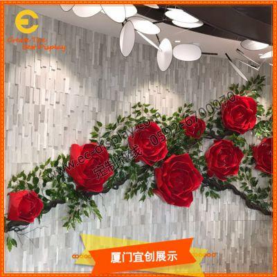 厦门宜创 商场美陈 PVC 花朵橱窗 装饰道具定制