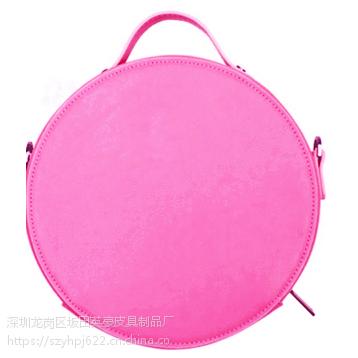 厂家直销2017韩版新款潮纯色圆形手提PU女式斜跨包 定制LOGO